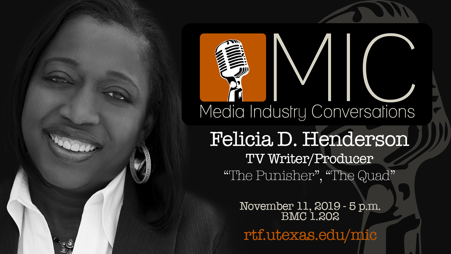 Media Industry Conversation wtih Felicia D Henderson 5 pm on Nov 11, 2019 in BMC 1.202